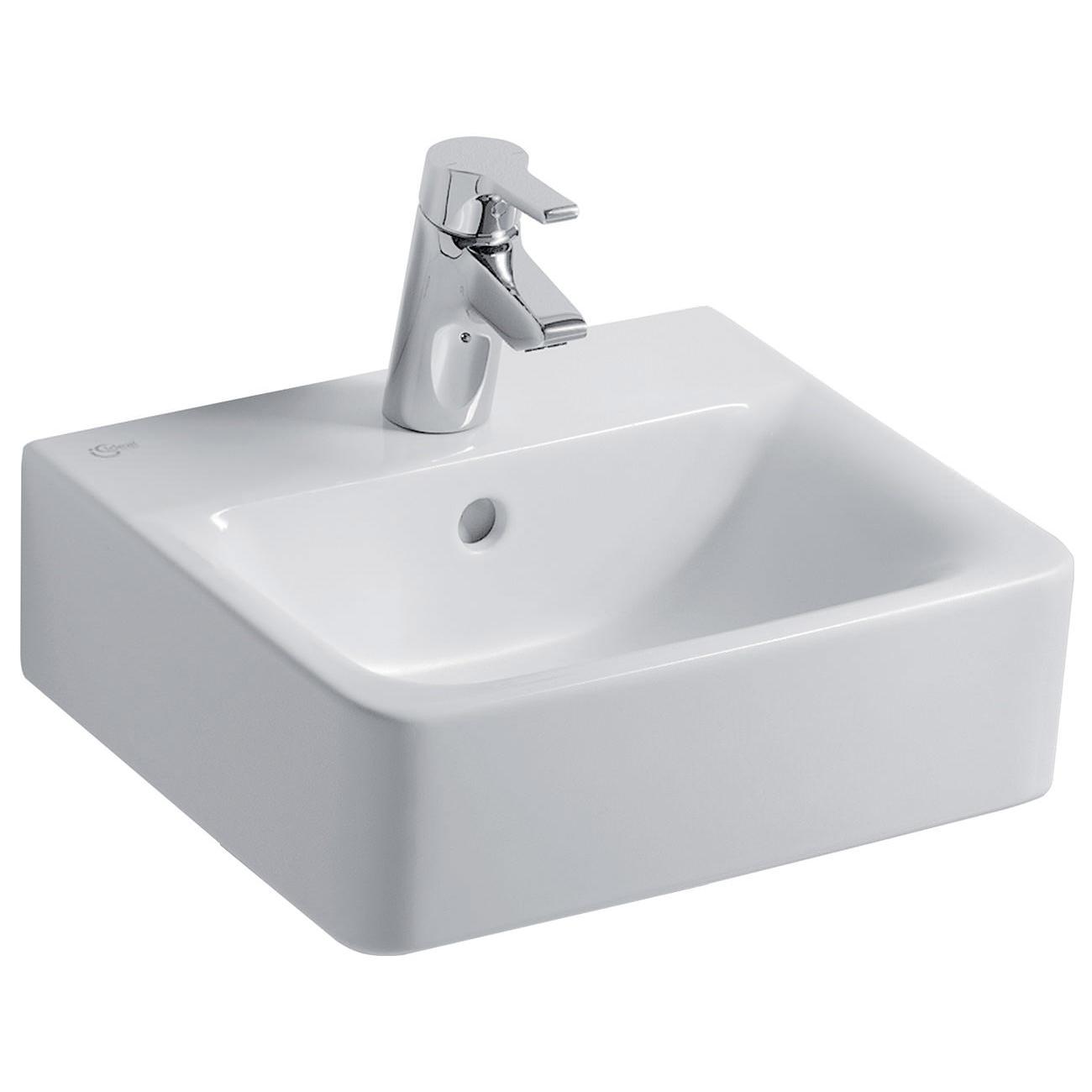 ideal standard concept cube 400mm 1 taphole handrinse basin. Black Bedroom Furniture Sets. Home Design Ideas