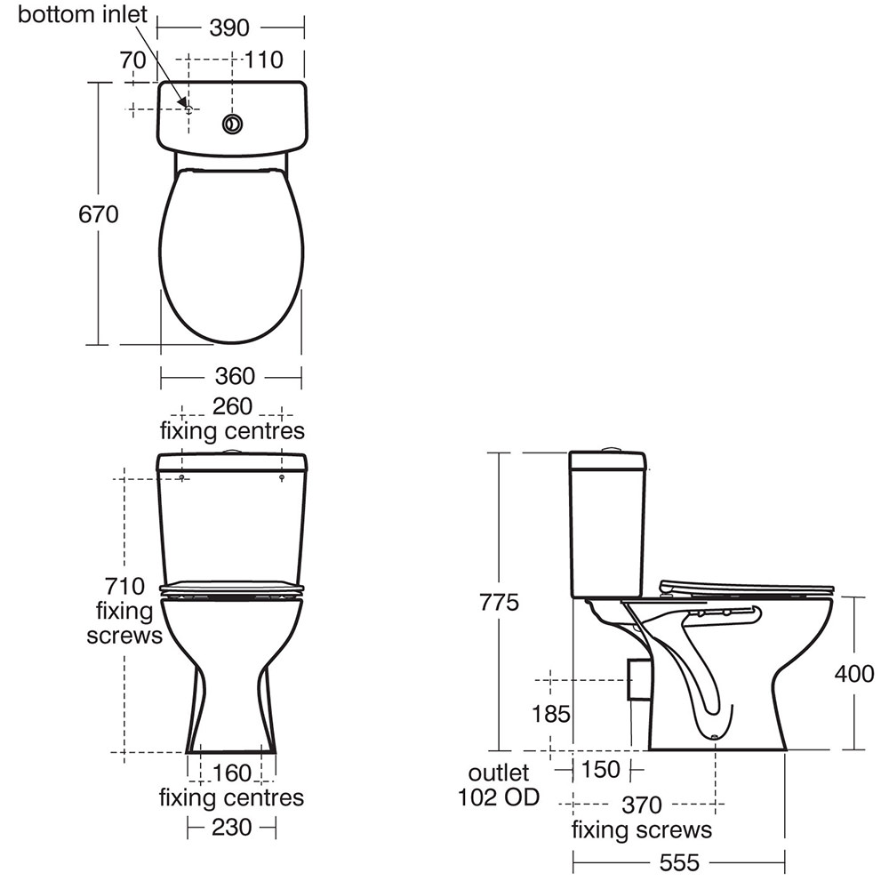 estilo toilet back to wall p trap instructions