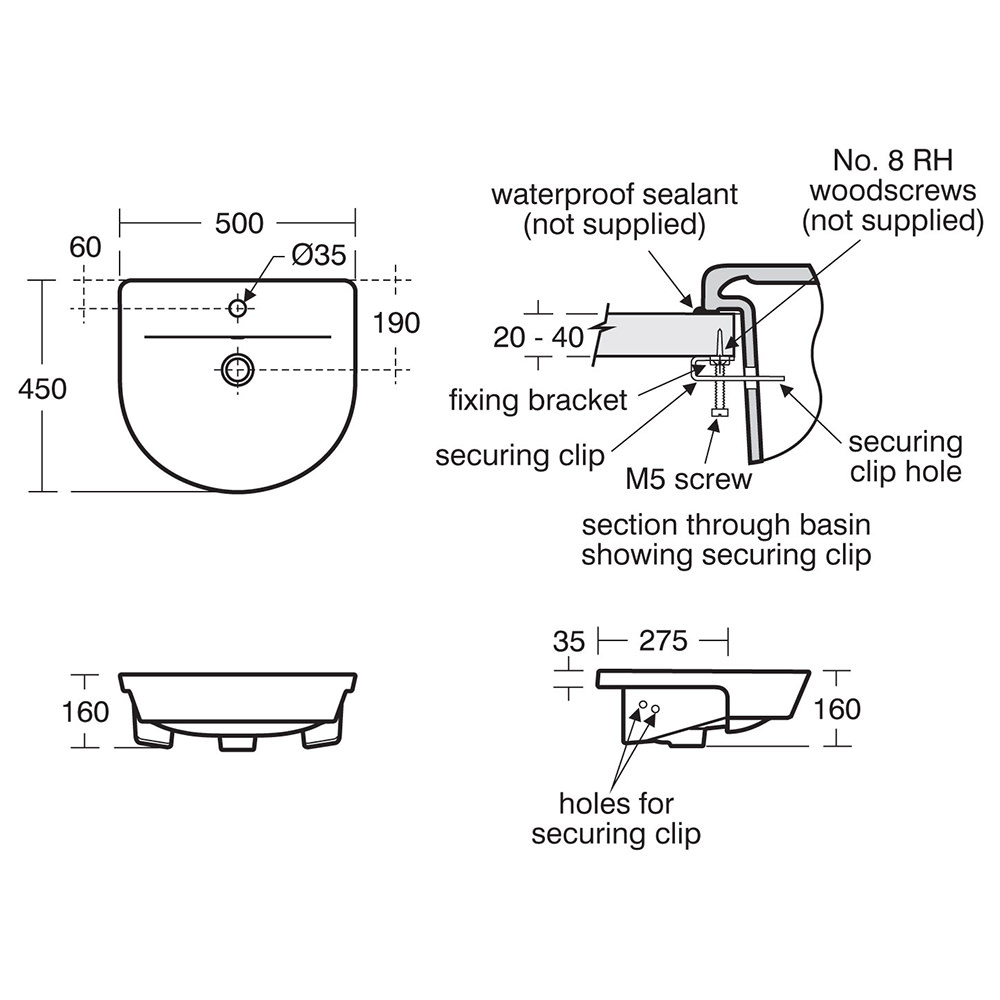 Ideal Standard Concept Air Arc 500 x 450mm Semi-Countertop Washbasin