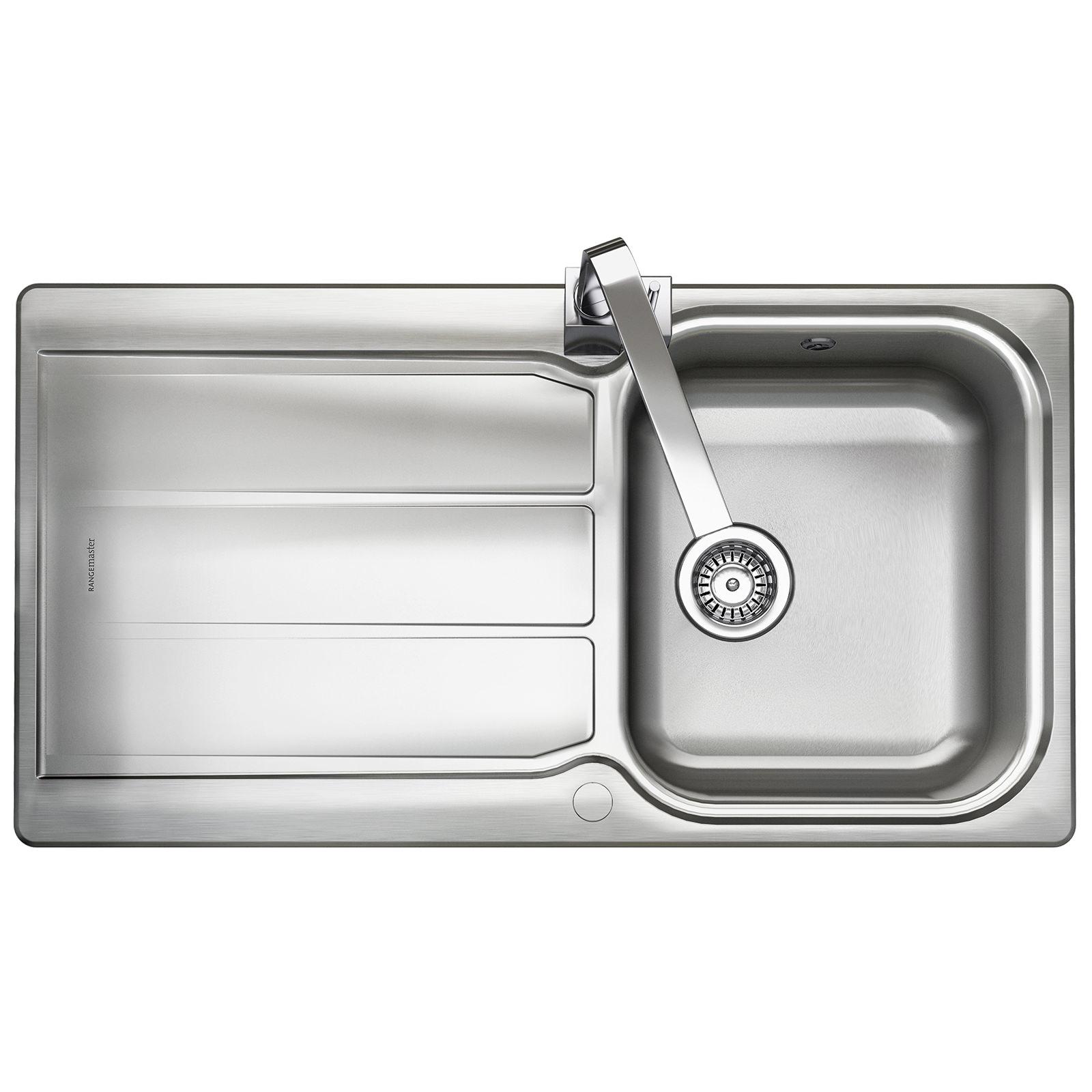 Rangemaster Glendale 950 x 508mm Stainless Steel 1.0B Inset Kitchen ...