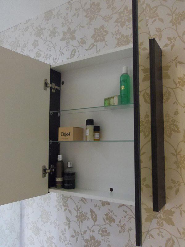 Saneux Austen 600mm Gloss White 2 Door Mirror Cabinet 500601