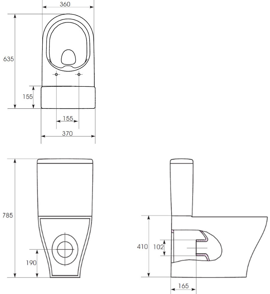 Saneux Prague Rimless Close Coupled Wc Pan With Cistern