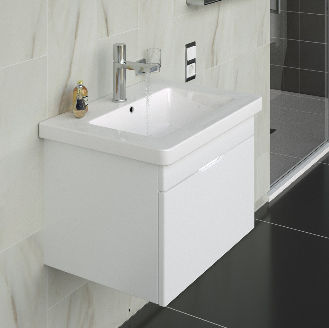 Saneux Indigo 500mm Gloss White 1 Drawer Unit With Washbasin 700110