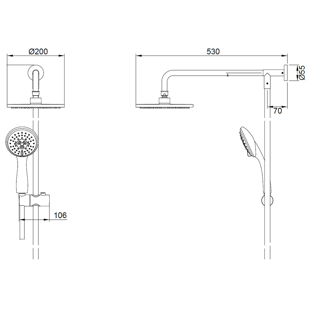 Crosswater Fusion Shower Diverter With Fixed Head And Handset Kit Valve Diagram Faucet Technical Drawing Qs V61493 Mb505rm