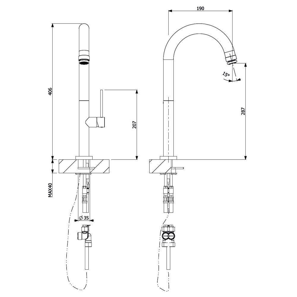 Crosswater Tube Round Side Lever Mixer Kitchen Tap TU714DC