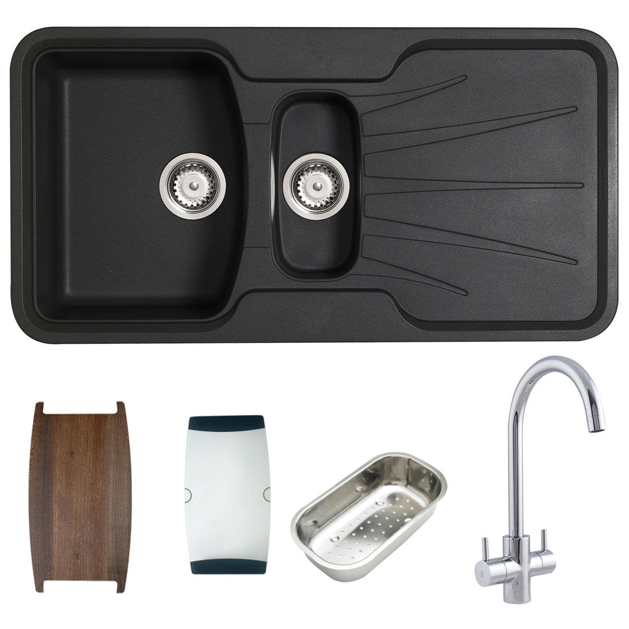 Astracast Korona 1.5 Bowl Composite ROK Metallic Inset Sink And Tap Pack