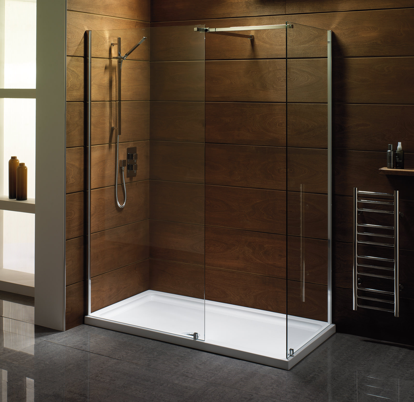 Saneux Walk In 1000mm Front Panel With Telescopic Bar