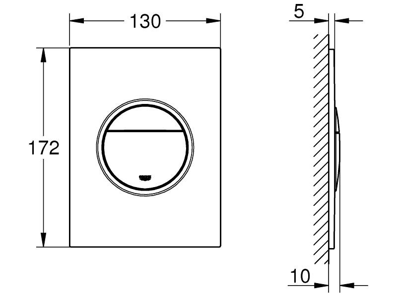 Small 130 x 172 mm Toilet Flush Plate Alpine White GROHE Arena Cosmopolitan S 37624SH0