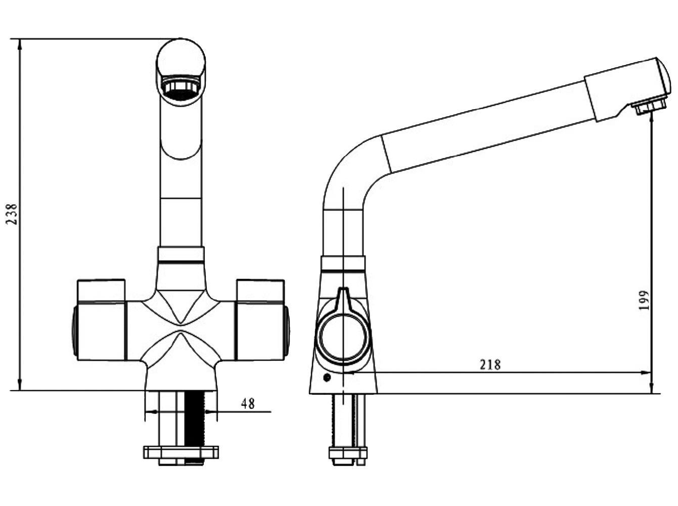 Bristan Sigma Mono Kitchen Sink Mixer Tap Plumbing Diagram Shematic Technical Drawing Qs V52268 S Snk Ef C To