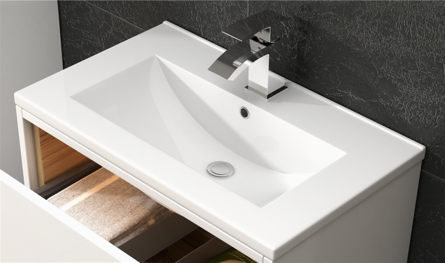Premier Athena 600mm 1 Drawer Wall Hung Cabinet With Basin