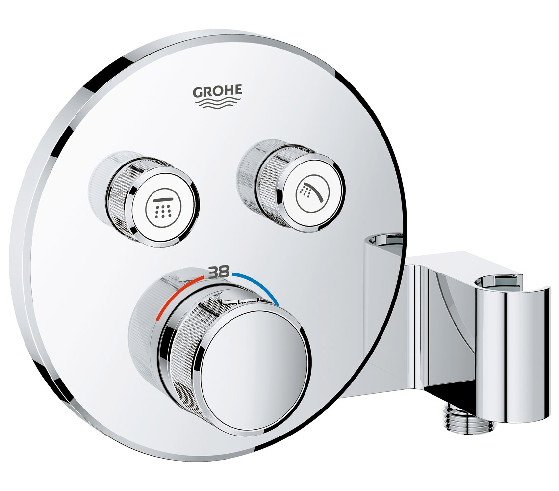 grohe grohtherm smartcontrol thermostat with 2 valve and shower holder. Black Bedroom Furniture Sets. Home Design Ideas