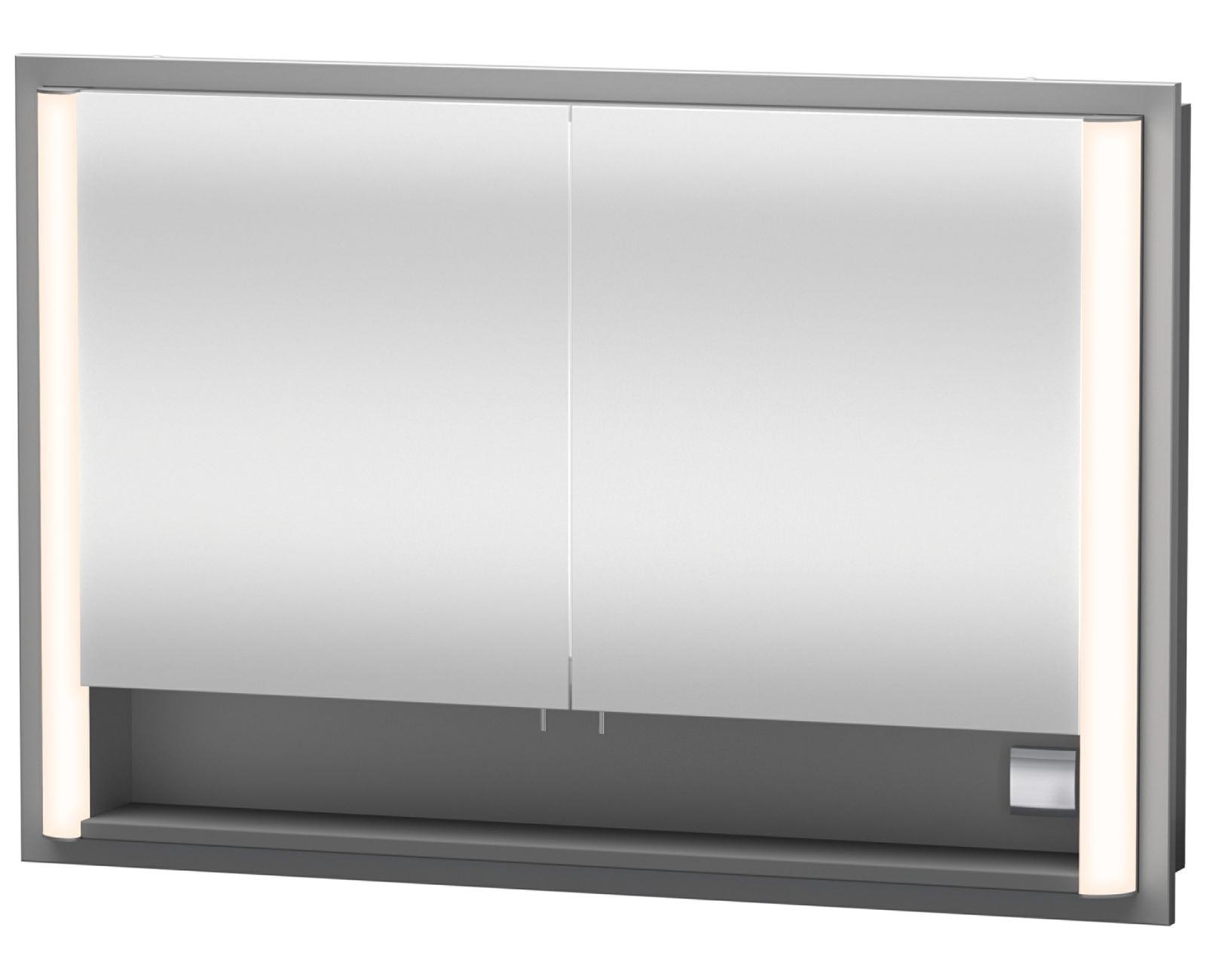 Duravit Aluminium White 800mm Built-In Mirror Cabinet