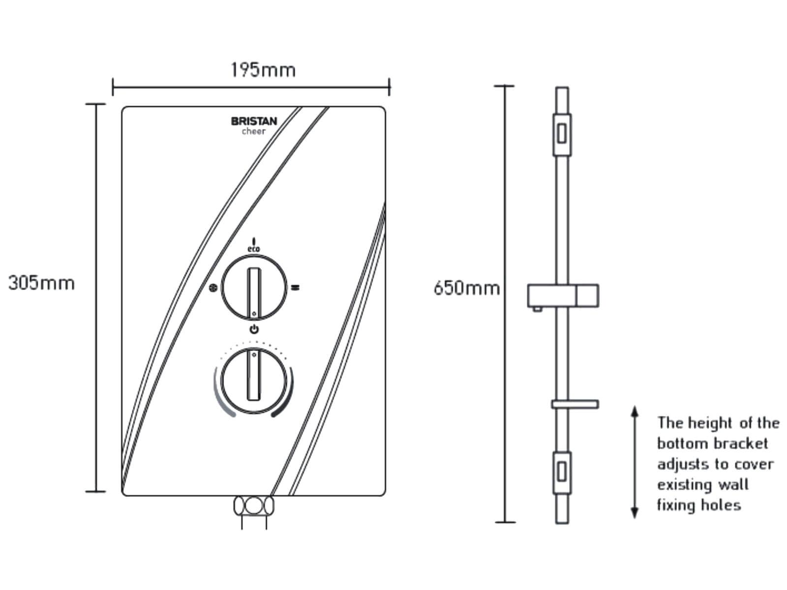 Bristan Smile Electric Shower White 8.5kw New Cover Design UK Stocks