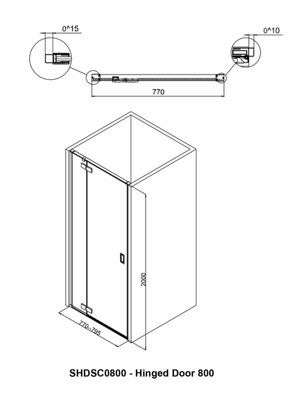 Crosswater Svelte Hinged Shower Door 800mm Shdsc0800