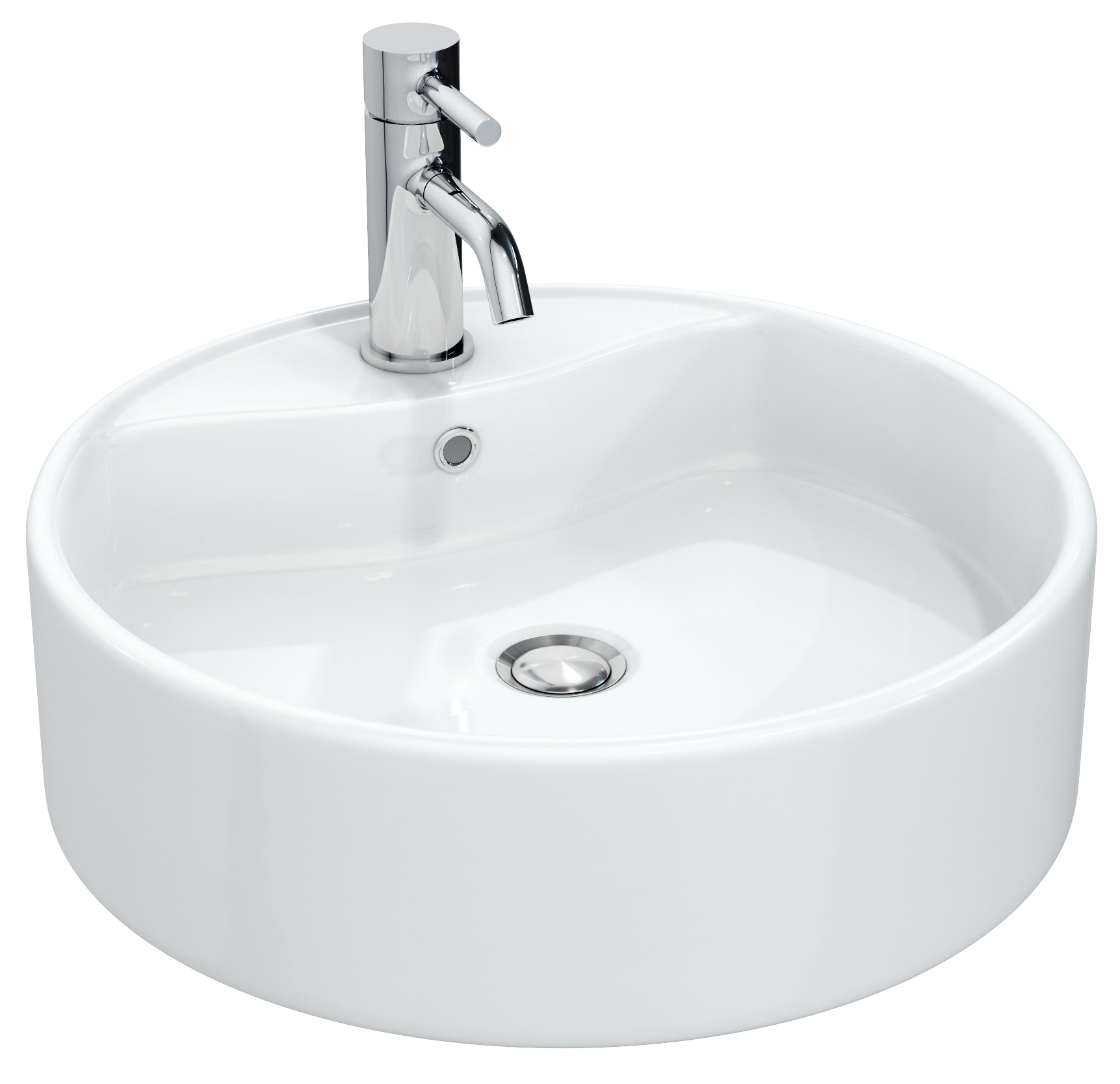 Round Counter Top: Miller 460mm Round Counter Top Ceramic Basin
