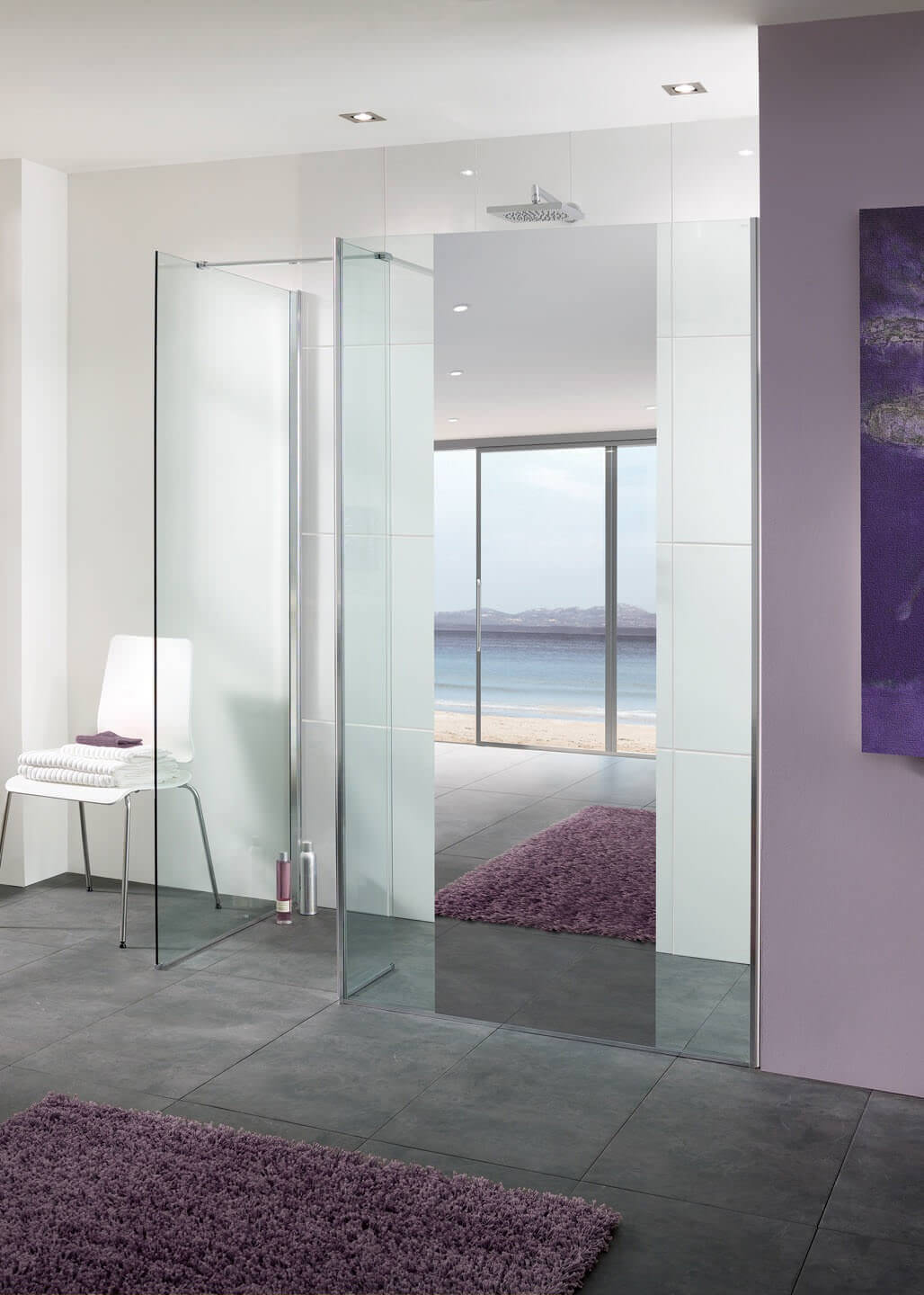 Lakes Mirror Glass Palma Walk In Shower Panel 900mm