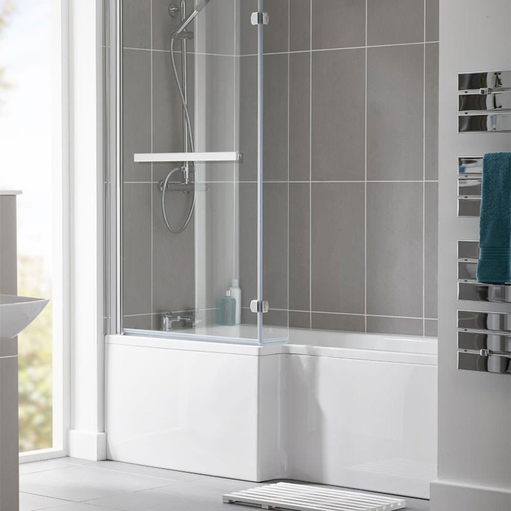 Essential Kensington 1700 X 850mm L Shape Shower Bath Pack