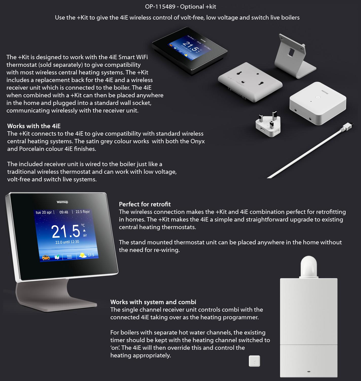 Warmup 4ie Onyx Black Smart Wifi Thermostat 4ie Wifi Ob