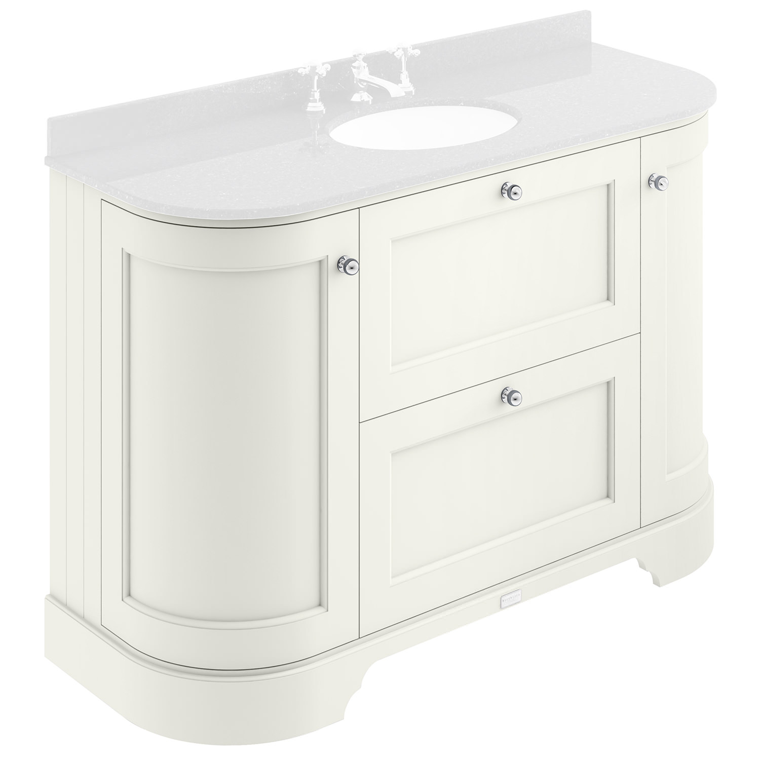 Bayswater 1200mm 2 Drawer And Curved Door Basin Cabinet