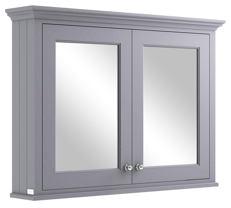 Bayswater 1050mm plummett grey wall mounted mirror cabinet - Wall mounted mirrored bathroom cabinet ...