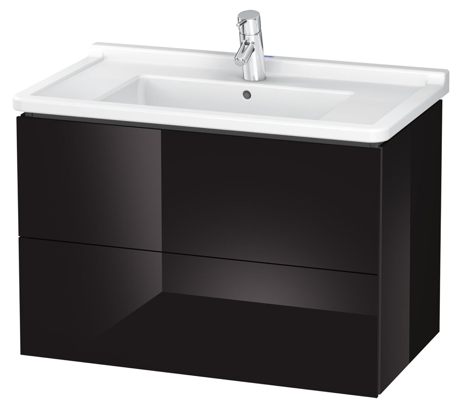 duravit l cube 820mm 2 drawer wall mounted vanity unit with starck 3 basin. Black Bedroom Furniture Sets. Home Design Ideas