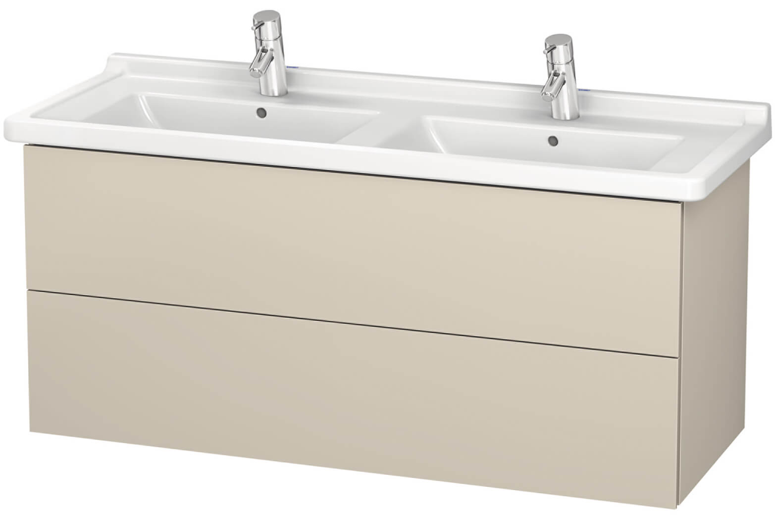 Duravit L-Cube 1220mm Wall Mounted 2 Drawer Vanity Unit With Starck ...