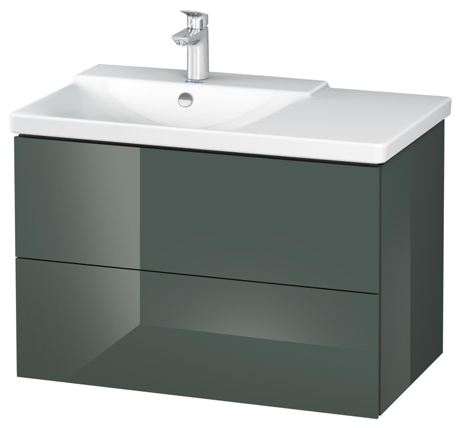 duravit l cube 820mm vanity unit with p3 comforts basin bowl on left. Black Bedroom Furniture Sets. Home Design Ideas