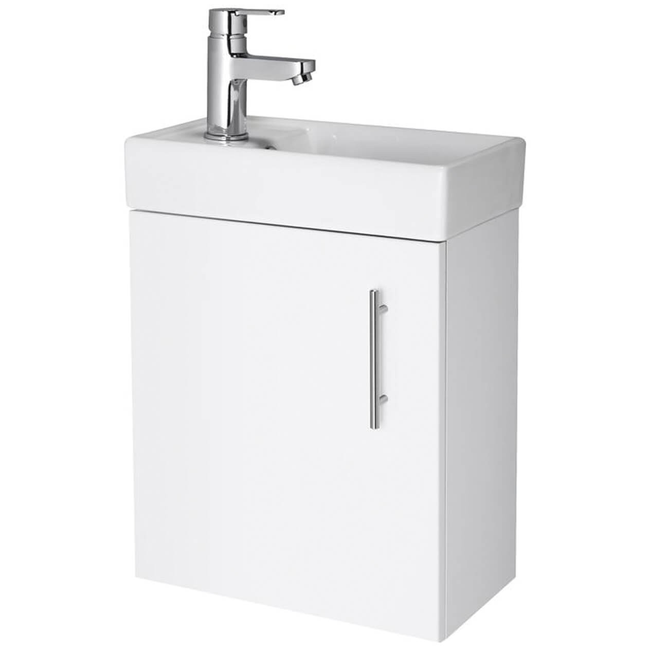 Premier Vault Gloss White 400mm Single Door Wall Hung Unit With Basin Min012