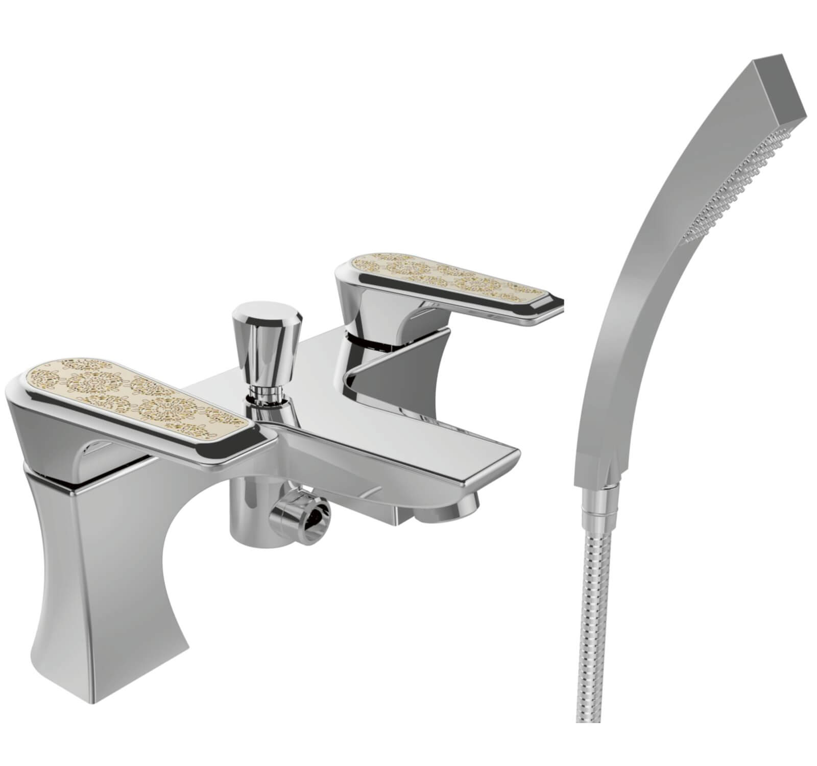 Heritage Lymington Bath Shower Mixer Tap With Lace Gold