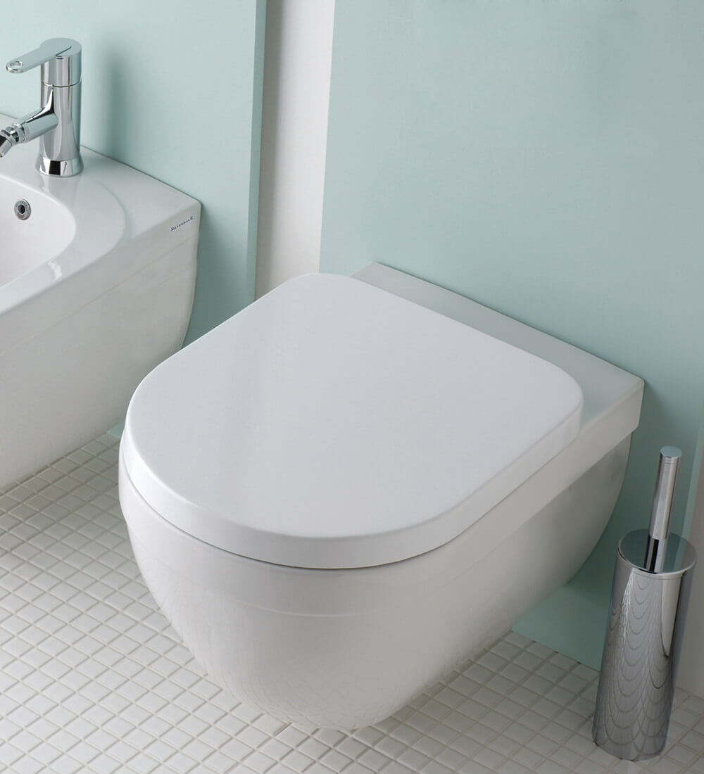 Silverdale Richmond Wall Mounted White WC Pan With Toilet Seat ...