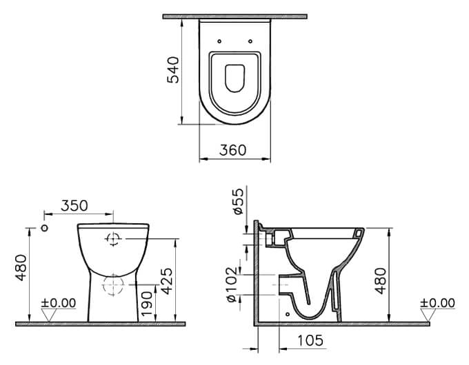 Vitra S50 Comfort Height Back To Wall Wc Pan 5369l003 0075