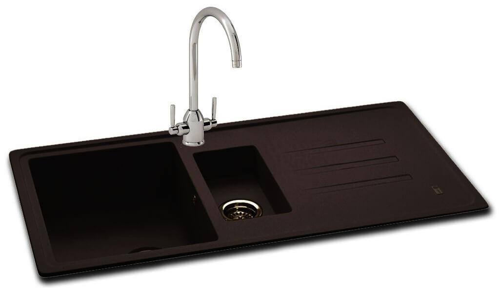 Carron Phoenix Debut 150 Jet Black 1.5 Bowl Inset Kitchen Sink ...