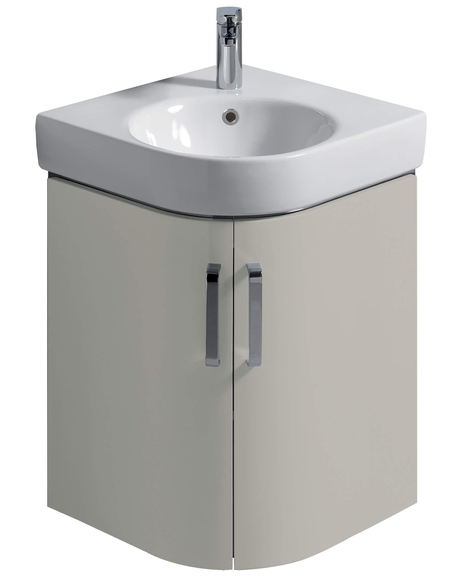 Twyford E200 690mm White Corner Unit And 500mm Handrinse Basin E20102wh