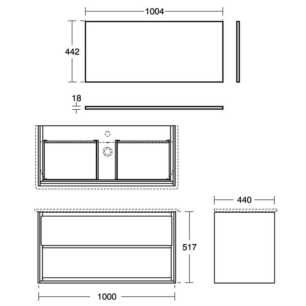 Ideal Standard Concept Air 1000mm Gloss White Drawer And