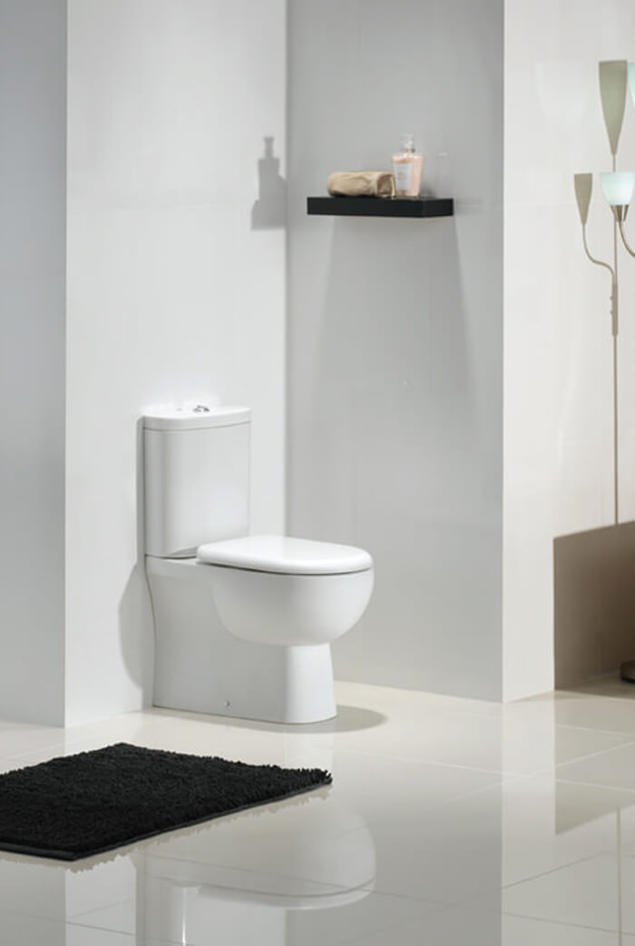 White RAK Tonique Close Coupled BTW Toilet with Soft Close Seat