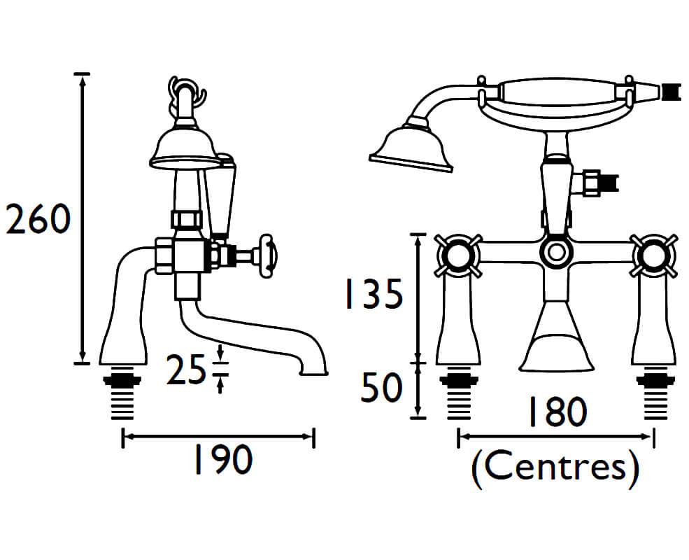 Bristan 1901 Chrome Bath Shower Mixer Tap