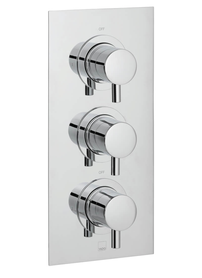 Vado Celsius Concealed 2 Outlet 3 Handle Thermostatic Shower Valve