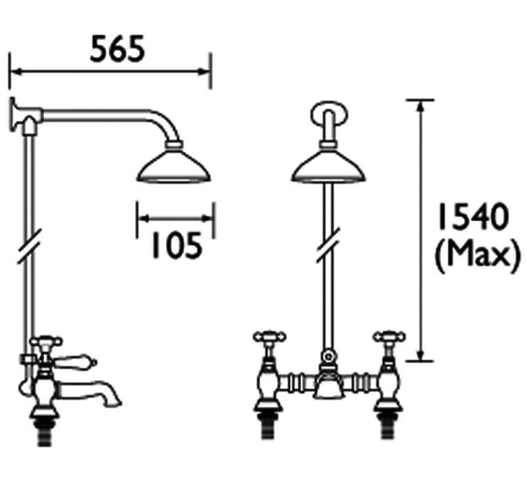 Bristan 1901 Chrome Rigid Riser Rail