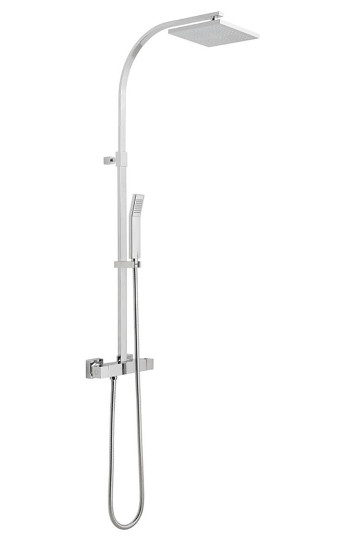 Vado Velo Square Thermostatic Shower Column Vel 149rrk Sq Cp