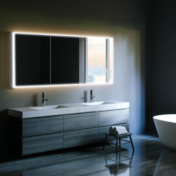 Hib Qubic 120 Triple Door Led Aluminium Mirror Cabinet 48000