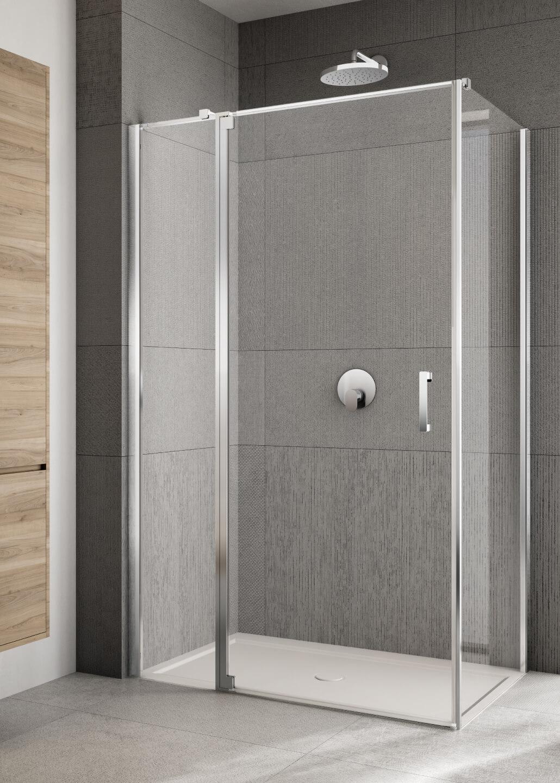 Lakes Italia Rilassa 900mm Semi Frameless Left Hand Pivot Door And In Line Panel With Optional Side Panel