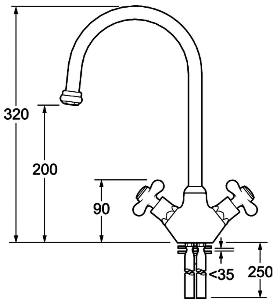 Deva SM057 Venetian Traditional Chrome Mono Kitchen Sink Mixer Tap Low Pressure