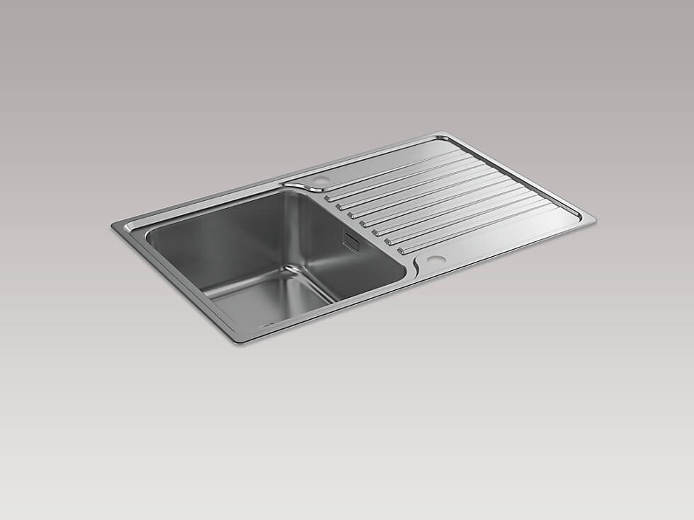 Kohler Hone 800mm Inset Kitchen Sink With Draining Board 20666 Na