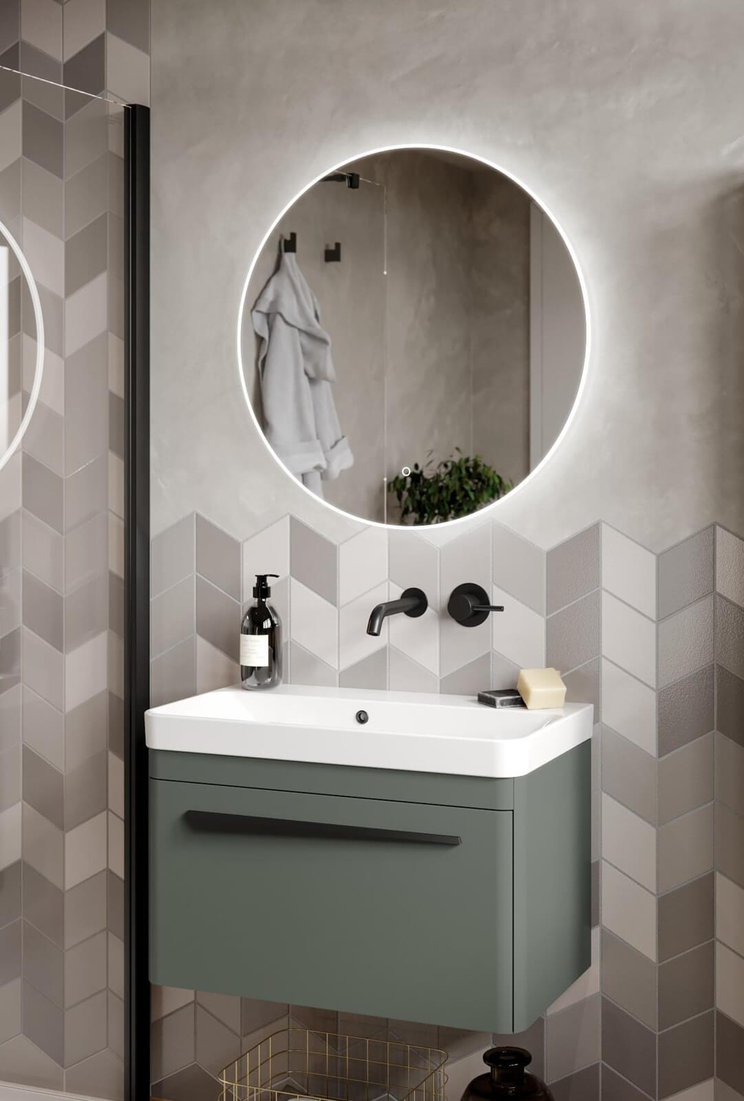 Saneux Oska Round Illuminated Led Mirror With Demister Pad