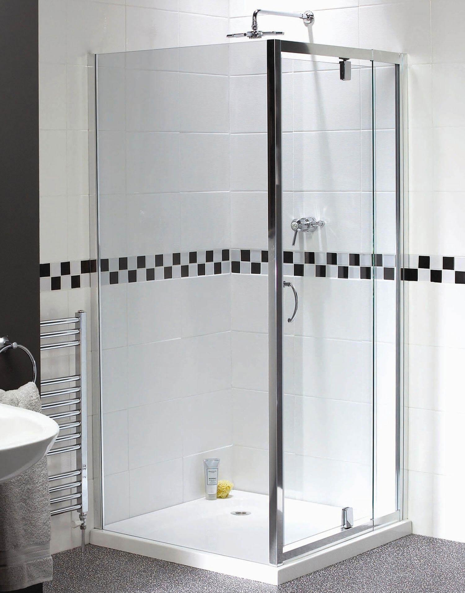 Aqualux Shine Telescopic Pivot Shower Door 760 900mm Fen0894aqu