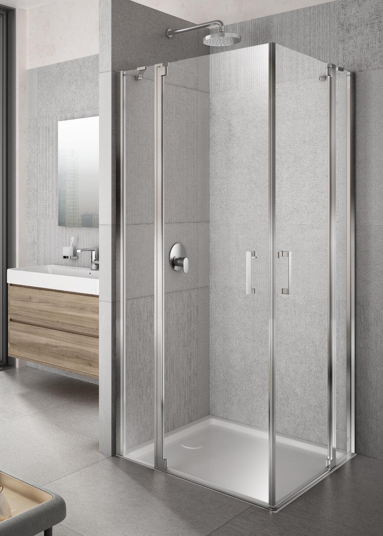 Lakes Italia Tempo Pivot Door With In Line Panel Corner Entry Enclosure 700 X 700mm