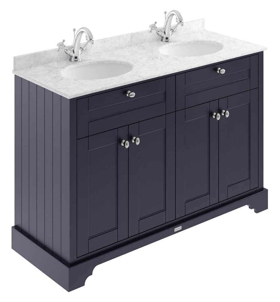 Old London 1200mm Floor Standing Unit And Double Basin With Marble Top