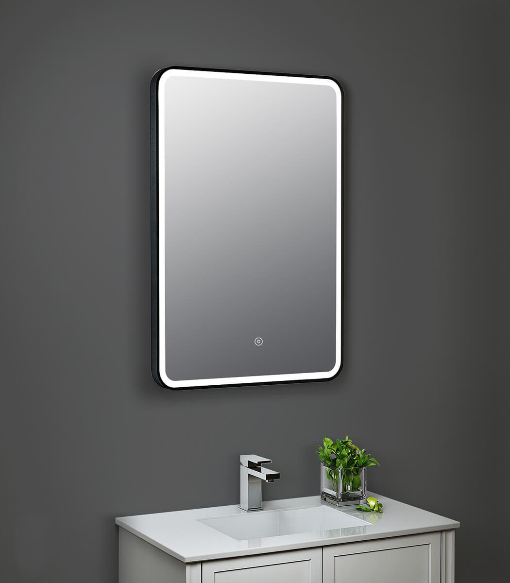 Hudson Reed 500 X 700mm Black Framed Led Illuminated Touch Sensor Mirror
