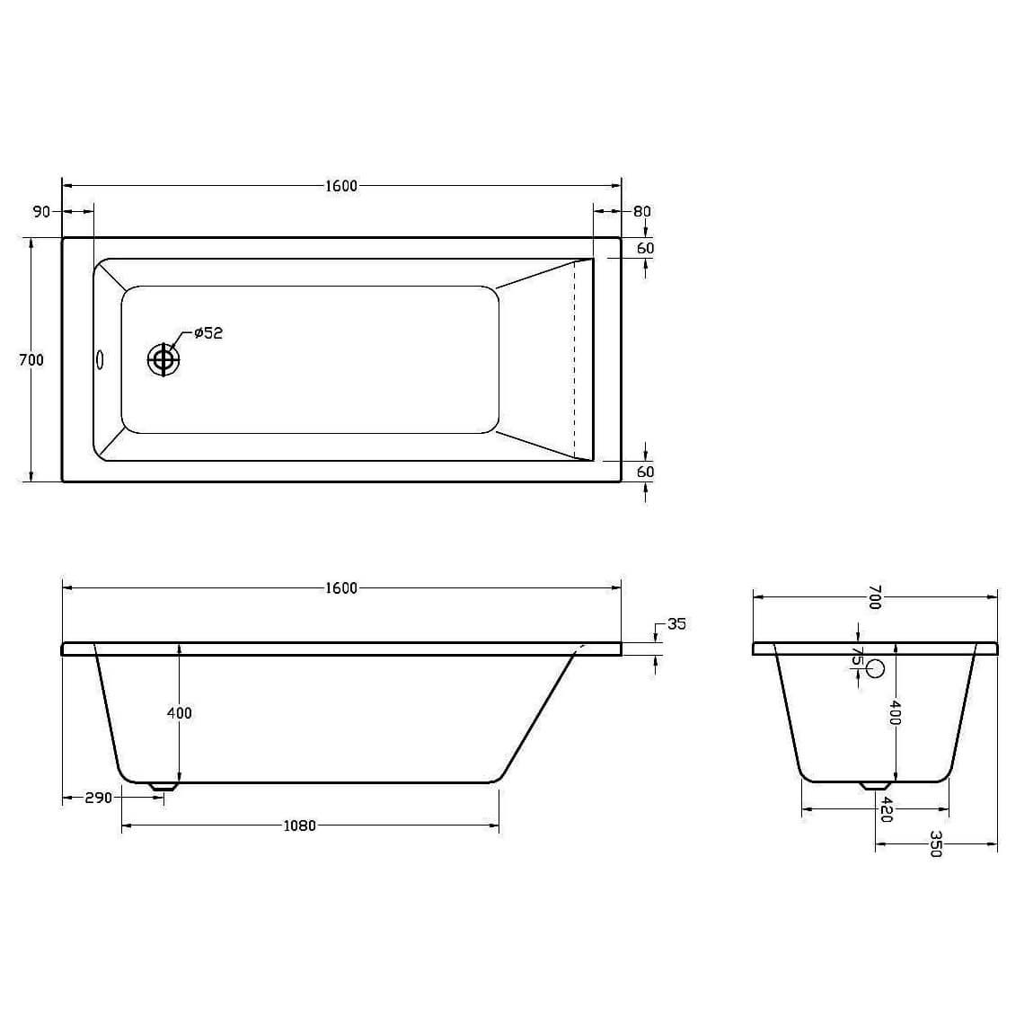 Aqua Medici Single Ended Square Straight Bath Si805749