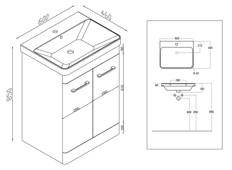 Harrison Bathrooms Eve Floor Standing, How High Should A Bathroom Vanity Be